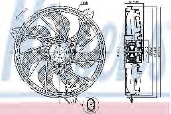 Вентилятор охлаждения  PEUGEOT 206 (TE3) (09-) (пр-во Nissens)                                       NISSENS 85607