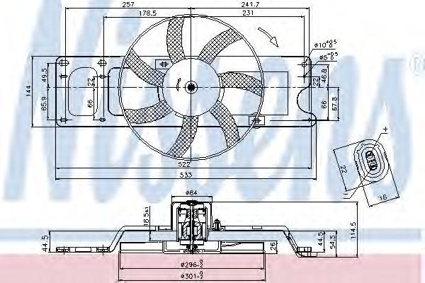 Вентилятор двигателя DACIA LOGAN I 1.4/1.6 (пр-во Nissens)                                           NISSENS 85712