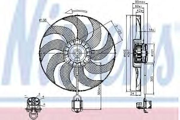 Вентилятор двигателя OPEL  ASTRA J (09-) (пр-во Nissens)                                             NISSENS 85748