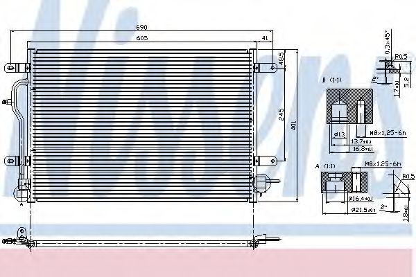 Конденсатор кондиционера AUDI A4/S4 (B6, B7) (00-) (пр-во Nissens)                                   NISSENS 94583