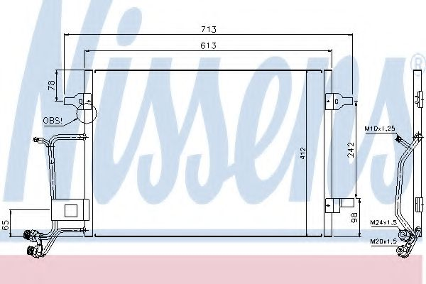 Конденсатор кондиционера AUDI A6/S6 (C5) (97-)(пр-во Nissens)                                        NISSENS 94593