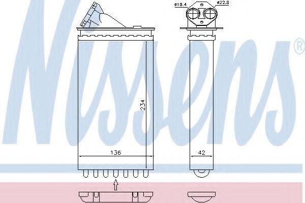 Радиатор печки OPEL OMEGA B (94-) 2.0-3.0 (пр-во Nissens)                                            VANWEZEL арт. 72655