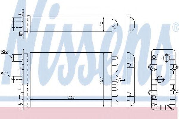 Радиатор печки VW TRANSPORTER T4 (90-) 2.0-2.8 (пр-во Nissens)                                       NISSENS арт. 73974