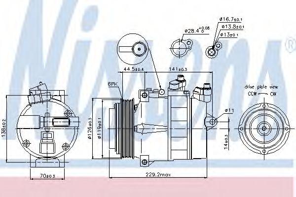компрессор кондиционера MERCEDES SPRINTER  95-06 (Nissens)                                           NISSENS 89022