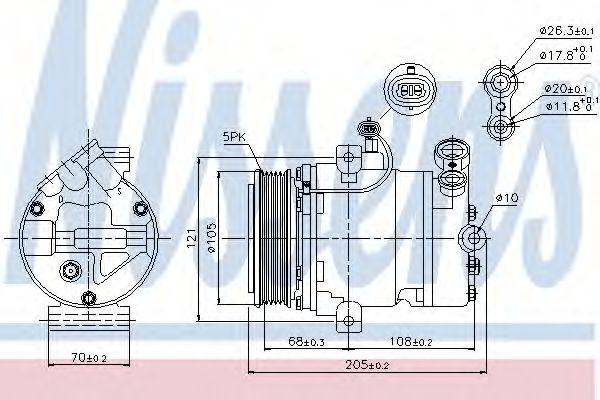 компрессор кондиционера OPEL ASTRA G   98- (Nissens)                                                 NISSENS 89024