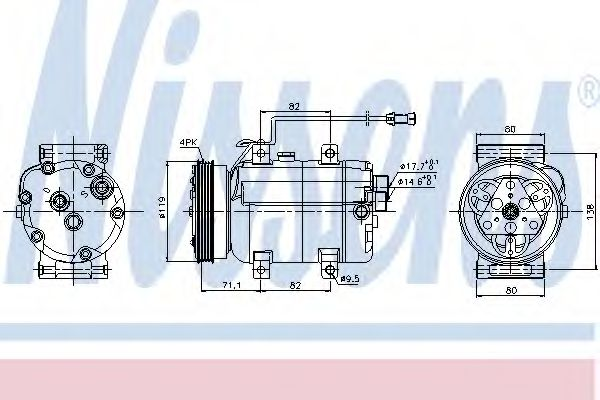 Kомпрессор кондиционера AUDI A4 94-00, VW Passat V 1.9 TDi  (Nissens)                                NISSENS 89029