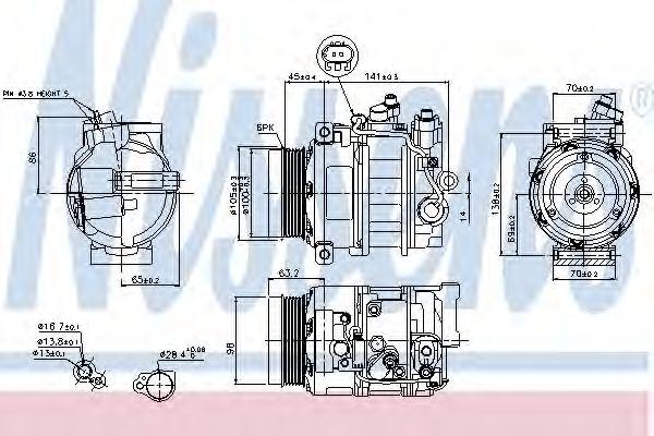 компрессор кондиционера MERCEDES C-CLASS W203  00- (Nissens)                                         NISSENS 89033