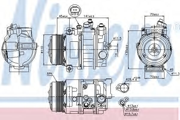 компрессор кондиционера MERCEDES  C, E, SLK-CLASS, SPRINTER W 906 (Nissens)                          NISSENS 89039