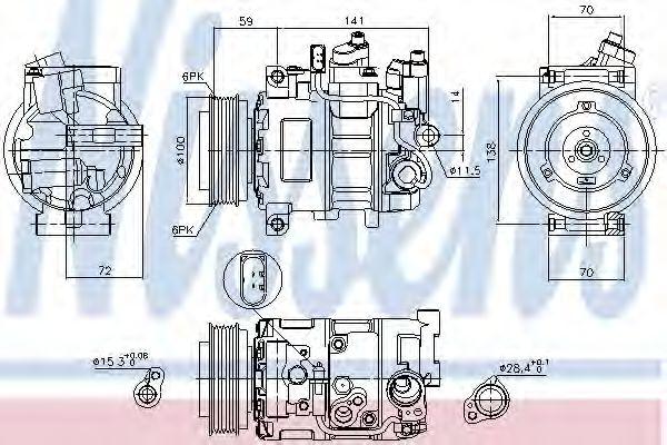 компрессор кондиционера AUDI A4   00- (Nissens)                                                      NISSENS 89052