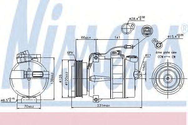 Компрессор кондиционера AUDI, SKODA, VW (Пр-во Nissens)                                              NISSENS 89054