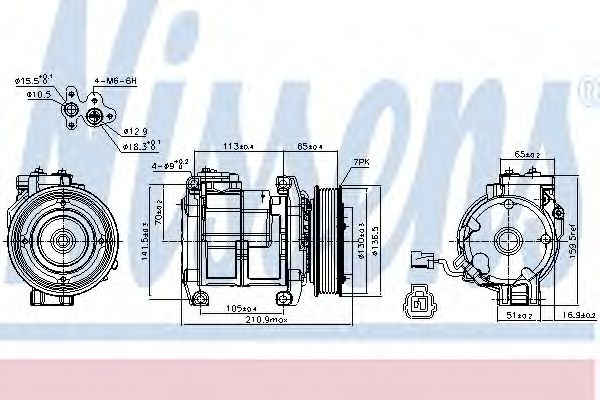 компрессор кондиционера HONDA ACCORD 2.0-2.4i  04- (Nissens)                                         NISSENS 89084