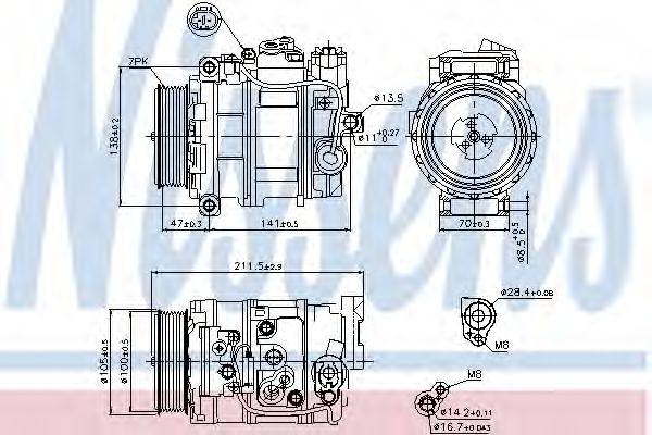 компрессор кондиционера MERCEDES BENZ E-CLASS W211 05- (Nissens)                                     NISSENS 89090