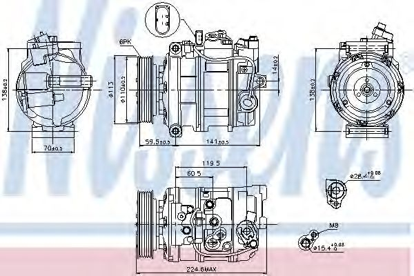 компрессор кондиционера VW-TOUAREG  02- (Nissens)                                                    NISSENS 89091