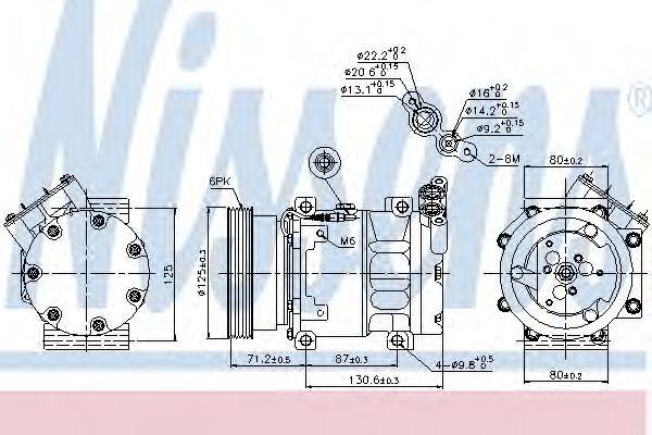 Компрессор кондиционера RENAULT Duster, Logan, Sandero (пр-во Nissens)                               NISSENS 89148