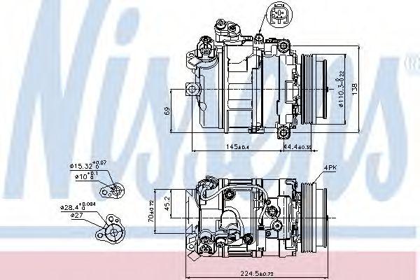 компрессор кондиционера BMW 5 SERIES E60 545i   03- (Nissens)                                        NISSENS 89199