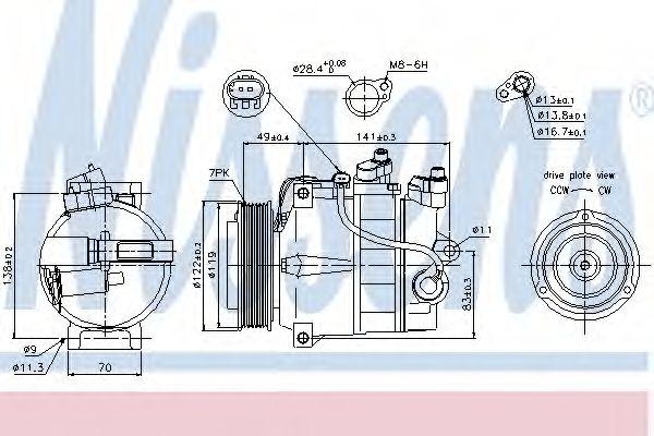 Компрессор кондиционера MERCEDES C-CLASS W 204 (07-) (пр-во Nissens)                                 NISSENS 89200