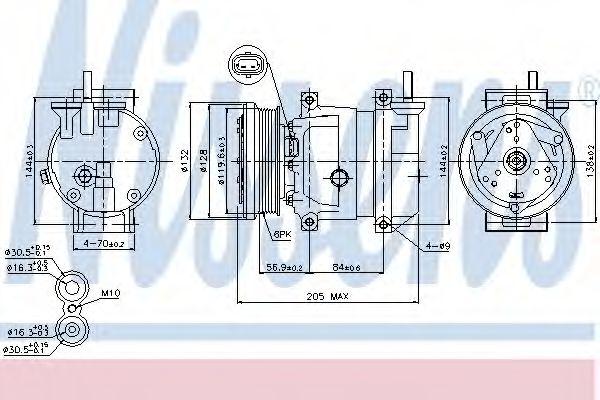 Компрессор кондиционера CHEVROLET  AVEO (T250, T255), LACETTI,NUBIRA (пр-во Nissens)                 NISSENS 89221
