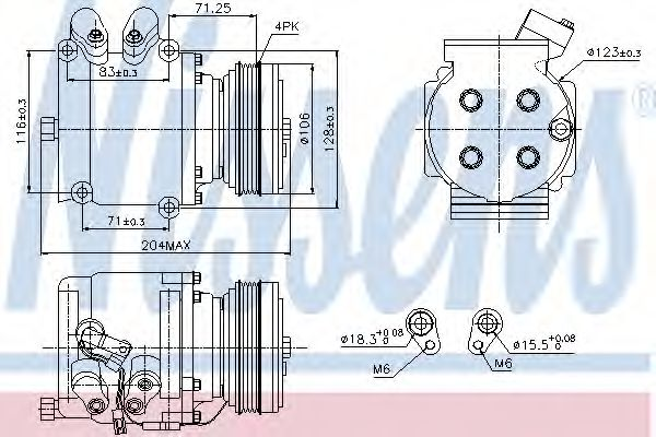 компрессор кондиционера HONDA CIVIC 95- (Nissens)                                                    NISSENS 89226
