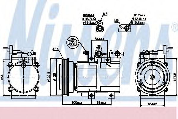 компрессор кондиционера HYUNDAI SANTA FE 00- (Nissens)                                               NISSENS 89276