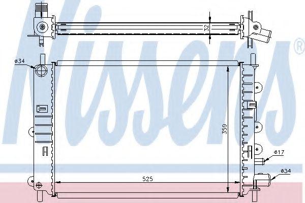 Радиатор охлаждения FORD ESCORT V-VI (90-) 1,4-2,0i  (пр-во Nissens)                                 в интернет магазине www.partlider.com