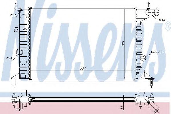 Радиатор охлаждения OPEL VECTRA B (95-) 1.6/2.0 (пр-во Nissens)                                      в интернет магазине www.partlider.com
