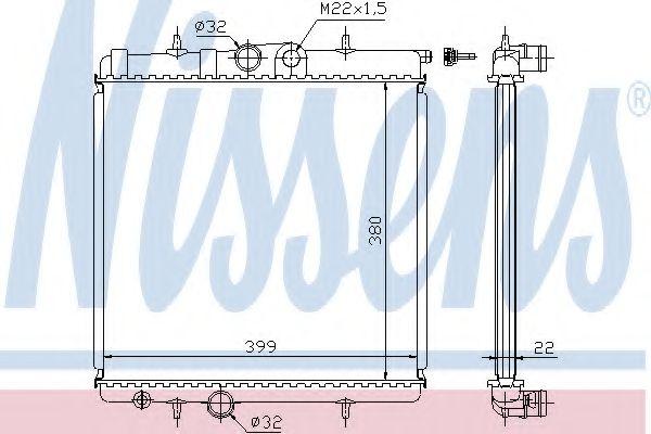 Радиатор охлаждения PEUGEOT 206 (2) (98-) (пр-во Nissens)                                            в интернет магазине www.partlider.com