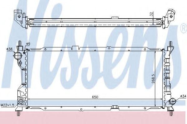 Радиатор охлаждения OPEL CORSA B (93-) 1.5-1.7 D (пр-во Nissens)                                     в интернет магазине www.partlider.com