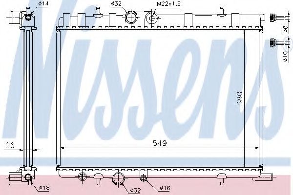 Радиатор охлаждения CITROEN BERLINGO, С4/PEUGEOT PARTNER, 206 (пр-во Nissens)                        в интернет магазине www.partlider.com