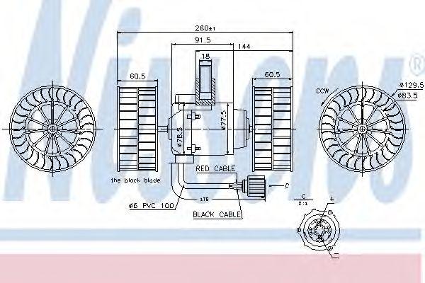 Вентилятор отопителя SCANIA 4-SERIES (95-) R 114 DC11.01/335 8/19 (пр-во Nissens)                    NISSENS 87037