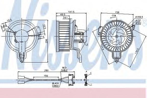 Вентилятор отопителя CITROEN  BERLINGO (M) (96-) (пр-во Nissens)                                     NISSENS 87048