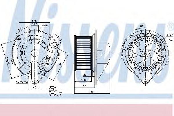 Вентилятор отопителя AUDI  80 / 90 (B4) (91-) (пр-во Nissens)                                        NISSENS 87064