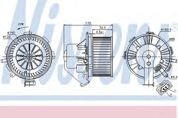 Вентилятор отопителя MERCEDES SPRINTER W 906 (06-) (пр-во Nissens)                                   NISSENS 87106