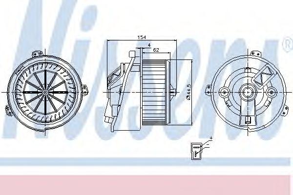 Вентилятор отопителя CITROEN  JUMPER (230) (94-) (пр-во Nissens)                                     NISSENS 87129