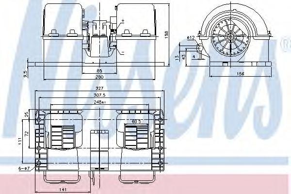 Вентилятор отопителя VOLVO FH 12 (93-) 340 HP D12/ 3/1993-> (пр-во Nissens)                          NISSENS 87132