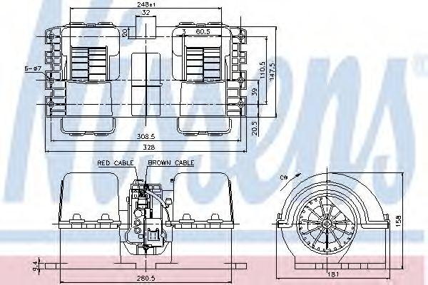 Вентилятор отопителя MAN TG-S (07-) D2676LF06/532 9/2007-> (пр-во Nissens)                           NISSENS 87133