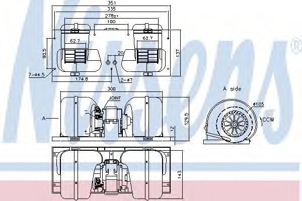Вентилятор отопителя DAF 95 XF FT 95 XF 530 /105 MX, XE390C (пр-во Nissens)                          NISSENS 87141