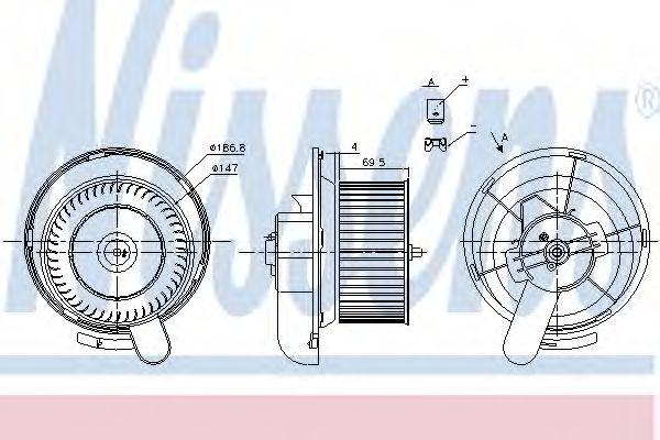 Вентилятор отопителя  MERCEDES ATEGO 2 (04-) 1215, 1216, 1218, 122 (пр-во Nissens)                   NISSENS 87145