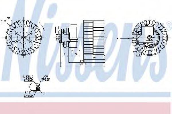 Вентилятор отопителя OPEL  VECTRA A (88-)(пр-во Nissens)                                             NISSENS 87154