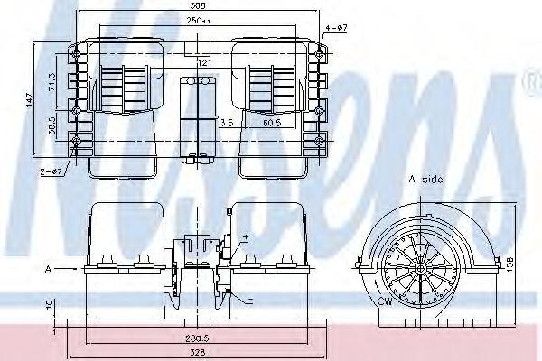 Вентилятор отопителя VOLVO FH 12 (93-) 340 HP D12/ 3/1993-> (пр-во Nissens)                          NISSENS 87190