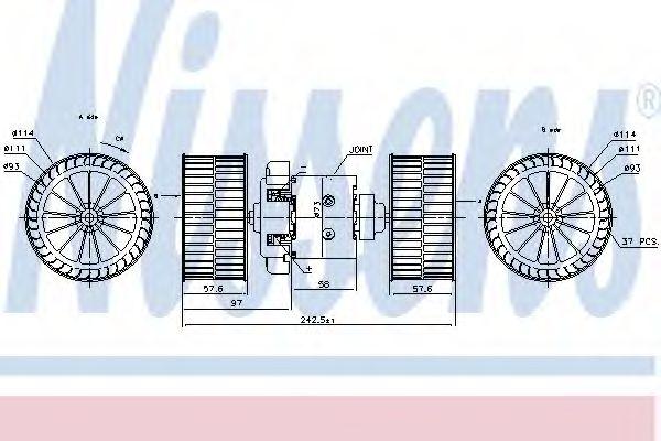 Вентилятор отопителя MERCEDES ACTROS MP2/MP3 (02-) OM 541.973/35 (пр-во Nissens)                     NISSENS 87191