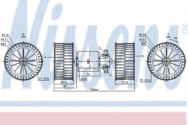 Вентилятор отопителя MERCEDES ACTROS MP1 (96-) OM 541.920/308 9 (пр-во Nissens)                      NISSENS 87192