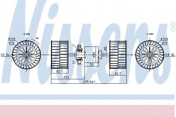 Вентилятор отопителя D0824LF02, MAN/MB LK (84-) 11 TONS -/ 1/1984-> (пр-во Nissens)                  NISSENS 87193