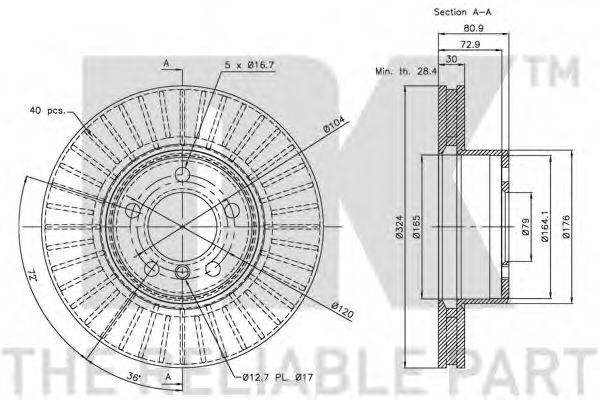 Диск гальмівний перед. Bmw E65/E66 730d-735i,Li 11.01- NK 201559