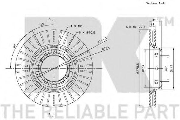 Диск гальмівний вентильований NK 203030