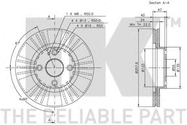 Диск гальмівний Mazda 323 2.0 98-04 NK 203235