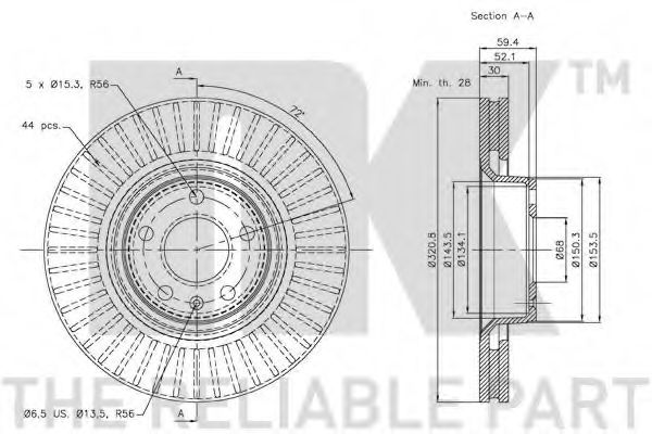 Диск гальмівний передній NK 2047100