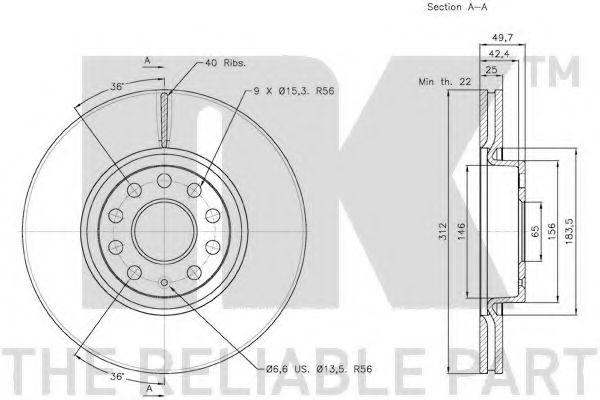Диск гальмівний передній NK 2047115