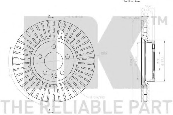 Диск гальмівний передній NK 2047145