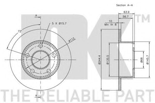 Диск гальмівний задній NK 204744