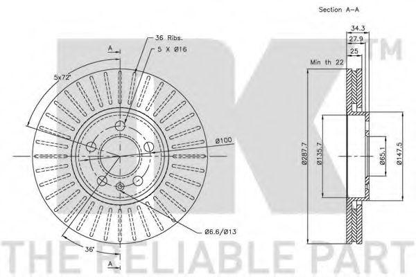 Диск гальмівний 288 мм NK 204760